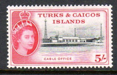 1957 TURKS & CAICOS ISLANDS 5/- cable office SG249 mint very light hinged