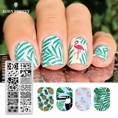 BORN PRETTY Nail Stamping Template Summer Flamingo Pattern Nail Art Stamp Plate