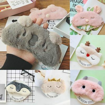 Animal Fluffy Plush Novelty Sleep Eye Mask Aid Blindfold Sleep Travel Blackout