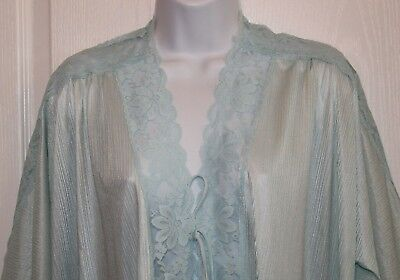 VINTAGE Full Length Blue Peignoir Robe SZ L/XL? Chiffon & Lace Front Tie MINT