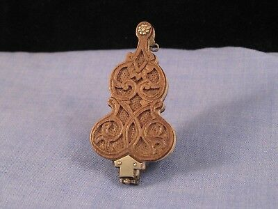 Antique Wooden Miniature Violin Treen Aide Memoire Carnet De Bal Dance Card 1850