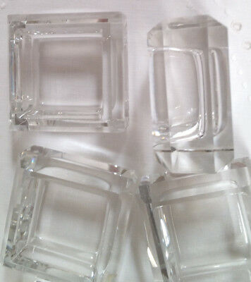 8 FAB  Antique Matching Mid Modern Cube Design Crystal Open Salt Cellars Dips