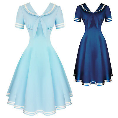 Hell Bunny Ambleside Blue Nautical 1950s Vintage Retro Sailor Pinup Swing Dress