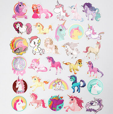 30Pcs Colorful Cute Unicorn Stickers for Laptop Car Styling Phone Luggage Decal