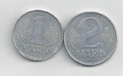 2 DIFFERENT COINS from EAST GERMANY - 1 & 2 MARKS (BOTH DATING 1977)