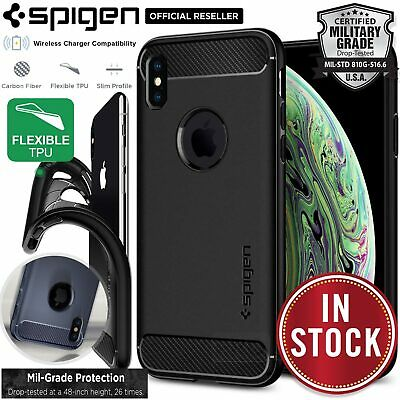 iPhone XS Max XR X Case, Genuine SPIGEN Rugged Armor Soft Slim Cover for Apple