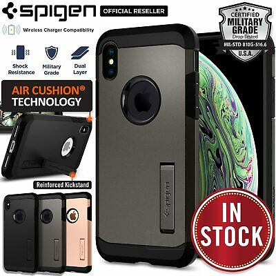 premium selection e7e75 05ead IPHONE XS MAX XR Case Genuine SPIGEN Tough Armor Hard Shockproof Cover For  Apple