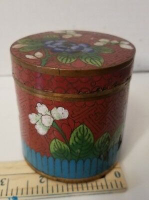 ANTIQUE CLOISONNE ENAMEL BRASS CHINESE FLORAL SNUFF JAR CAN CANISTER BOX chippy