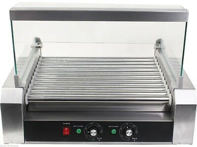 US Roller Commercial 30 Hotdog Hot Dog 11 Roller Grill Cooker Machine W/Cover