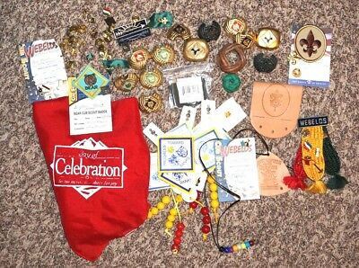 Large Lot Boy Scouts of America BSA Vintage neckerchief & slides, Leather Work