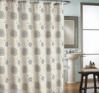Cynthia Rowley Cotton Shower Curtain Medallion Khaki Blue Grey Brown White NEW