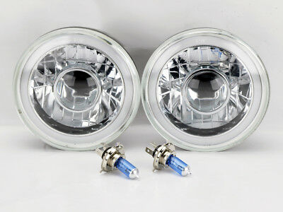 """7"""" Round Projector H4 CCFL Halo Glass Headlight Conversion w/ Bulbs Pair Buick"""