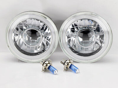 """7"""" Round Projector H4 CCFL Halo Glass Headlight Conversion w/ Bulbs Pair Chevy"""