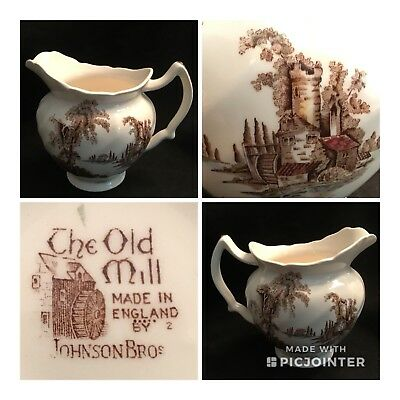 "Vtg ""The OLD MILL"" Johnson Bros 5 1/8"" Milk PITCHER JUG ~Made in England"