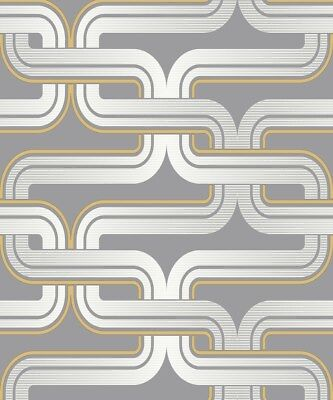 Feature Geometric Lines. Arthouse Retro House Link Grey Yellow Wallpaper 902405