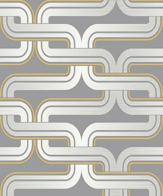 Feature Geometric Lines - Arthouse Retro House Link Grey Yellow Wallpaper 902405
