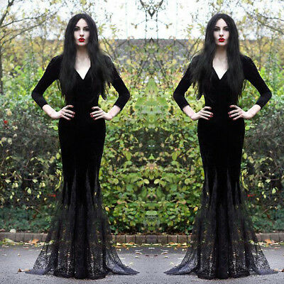 Sexy Women's Black Slim Mermaid Lace Dress Gothic Punk Halloween Cosplay Costume