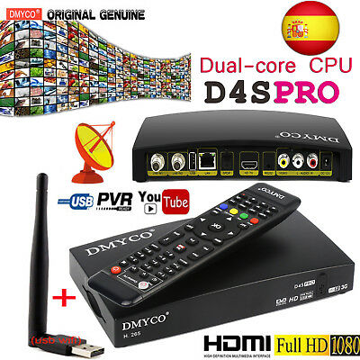 HD D4SPRO FTA DVB-S2 Digital Satellite Receiver PVR Dual-Core CPU 1080P+USB Wifi