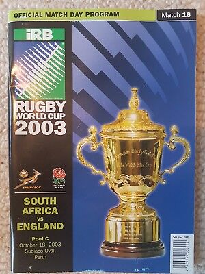 2003 Rugby world cup programme South Africa vs England
