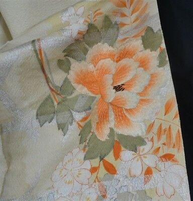 obi silk fabric embroidered silver metal thread 158 x 24 repurpose antique