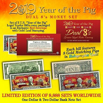 2019 Chinese New YEAR OF THE PIG Lucky Money U.S. $1 & $2 Set DUAL 8's GOLD PIGS