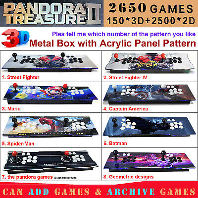 2650 Game Pandora Treasure II 3D Retro Video Arcade Console Machine Double Stick