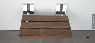 "15 3/4"" Serena Folding Shower Bench Seat Teak Wood Bath Medical Wall Mount"
