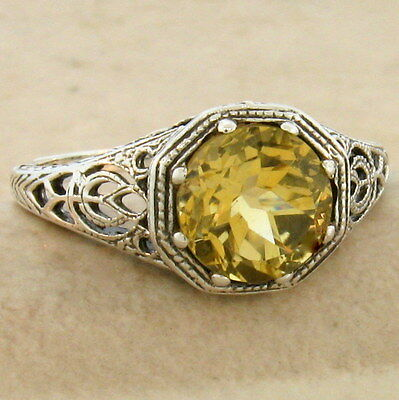 Genuine Citrine Art Deco 925 Sterling Silver Ring Size 8.25,                #845