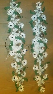 "Pr Vintage Italian Country Floral Leaves Wrought Iron Wall Sconces 40""X 7"" Decor"