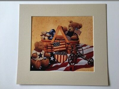 Longaberger All American Market Basket & Teddy Bears Large Matted Art Print