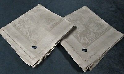 Antique 12 Linen Damask Napkins BUCKS, TREES, PINECONES Never Used FREE SHIPPING
