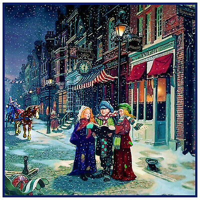 Victorian Christmas Street Scene Carolers Carriage Counted Cross Stitch Pattern