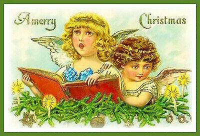 Victorian Angels Merry Christmas Counted Cross Stitch Chart Pattern