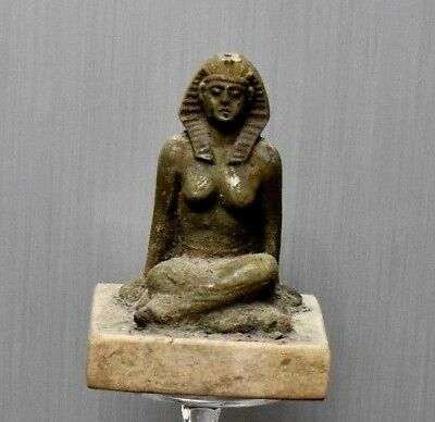 ANCIENT EGYPT  EGYPTIAN ANTIQUE bronze  Kneeling Figure of women 300-1500)BC