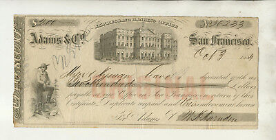 1854 Fiscal Document Adams & Co Express Banking Office San Francisco