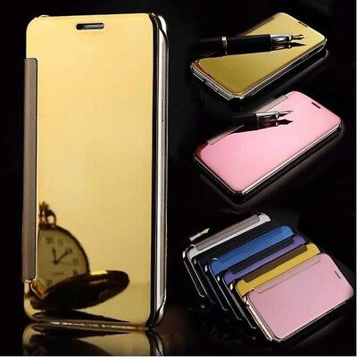 Luxury Clear View Mirror Flip Leather Case Cover For Samsung Galaxy S9 J5 Note B