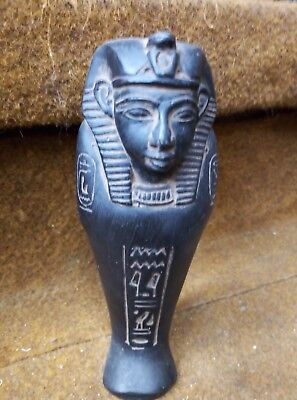 ANCIENT EGYPTIAN STATUE PHARAOH Ushabti Shabti of Ramses Black Figure Stone Bc