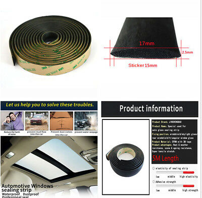 Reducing Wind Noise 5 Meters Car Front Rear windshield Sunroof 3M Seal Strip