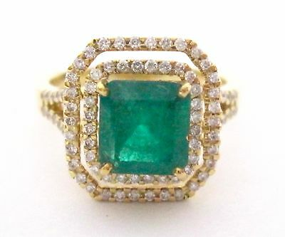 2.54 TCW Natural Princess Cut Emrald and Round Brilliants Diamonds Ring 18kt Y/G