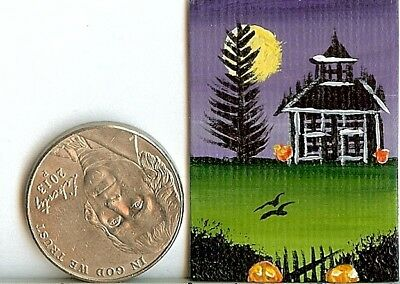 Original 1 x 1.5 Inch Dollhouse Picture Painting Halloween Pumpkins Art HYMES