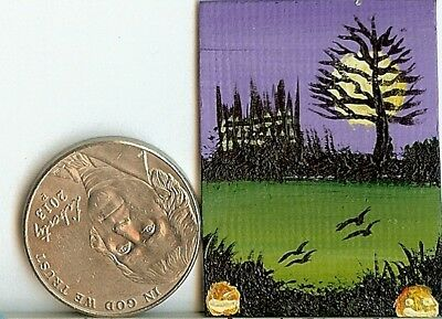 Original 1 x 1.5 Inch Dollhouse Picture Gothic Castle Pumpkins Fantasy Art HYMES