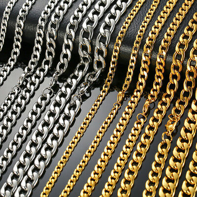 """Chunky DIY Man Necklace Curb Chain Link Stainless Steel 24"""" Hip Hop Gold Silver"""