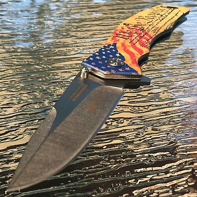 "8.75"" We The People American Usa Flag Patriot Spring Assisted Folding Knife"