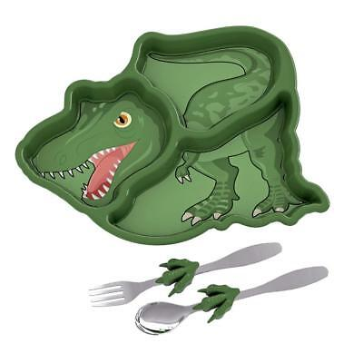 NEW Funwares Me Time Childrens Dinosaur Dinner Set - Plate & Cutlery