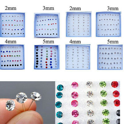Wholesale 20 Pairs/set Mixed Color Crystal Ear Stud Plastic Earrings 2mm-5mm