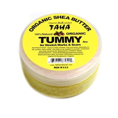 TAHA 100% Natural Organic Shea Butter Tummy for Stretch Marks & Scars 4oz