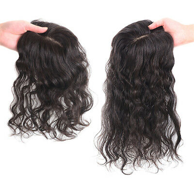 100%  Human Hair Curly Mono Silk Base Frontal Topper Hairpiece Toupee Women
