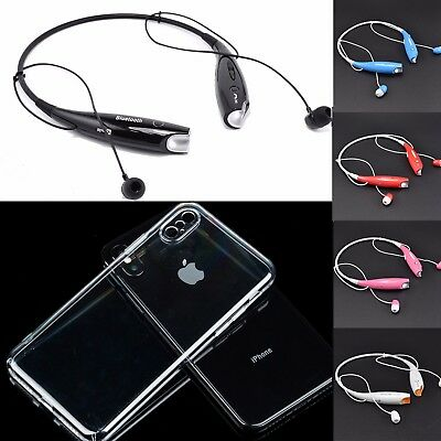 Magnetic Stereo Wireless Headset + Crystal Clear Case for Apple iPhone X 9 8 7