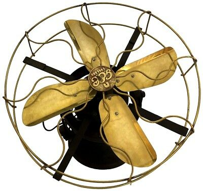 Round Antique Brass Vintage Collectible Old Functional Electrical Desk Fan BF 05