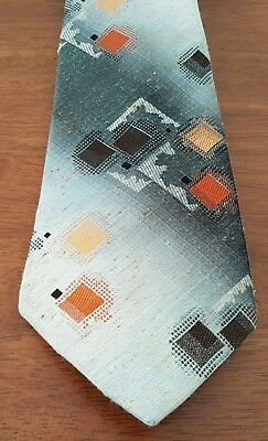 Mens Vintage 70s ST MICHAEL Made in the UK Shades GREY ORANGE Geometric Neck TIE